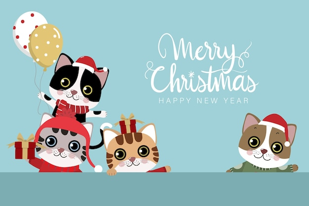 Merry christmas and happy new year greeting card with cute cat