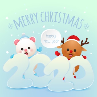 Merry christmas and happy new year greeting card with cute deer and polar bear vector