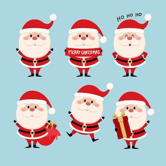 Merry christmas and happy new year greeting card with cute santa claus collection