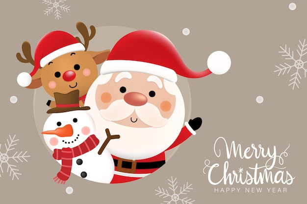 Merry christmas and happy new year  greeting card with cute santa claus, deer and snowman.
