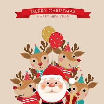 Merry christmas and happy new year greeting card with cute santa claus and deer