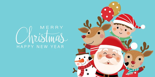 Merry christmas and happy new year greeting card with cute santa claus snowman and deer