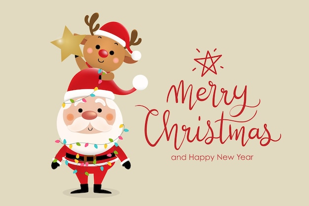 Merry christmas and happy new year greeting card with cute santa claus