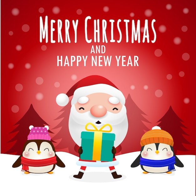 Merry christmas and happy new year greeting card with cute santa holding xmas gift and empty space for messages in red background  banner template copy space isolated on background