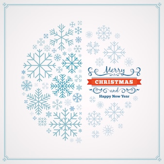 Merry christmas and happy new year greeting card with design made of snowflakes