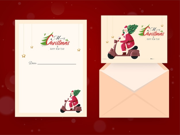 Merry christmas & happy new year greeting card with envelope in front and back view