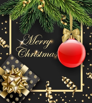 Merry christmas and happy new year greeting card with fir branches christmas gift and red ball