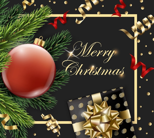 Merry christmas and happy new year greeting card with fir branches and red ball with decorations