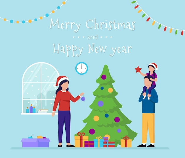 Merry christmas and happy new year greeting card with flat cartoon characters family celebrating fest near big pine wearing red hats