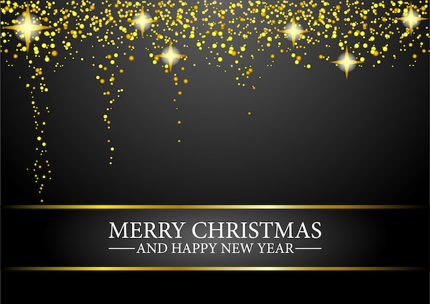 Merry christmas and happy new year greeting card with glitter gold confetti.