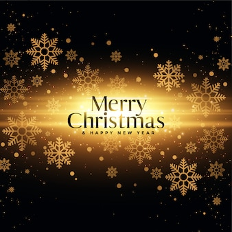 Merry christmas and happy new year greeting card with golden sparkles and snowflakes