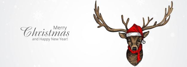 Merry christmas and happy new year greeting card with hand drawn christmas deer sketch
