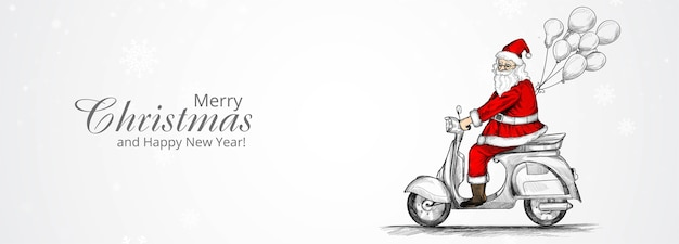 Merry christmas and happy new year greeting card with hand drawn santa claus on riding a scooter