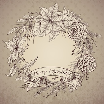 Merry christmas and happy new year greeting card with hand drawn winter plants. vintage   illustration.