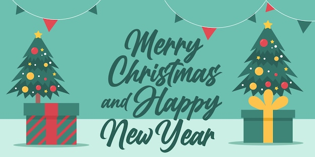 Merry christmas and happy new year greeting card with lettering and trees