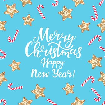 Merry christmas and happy new year greeting card with lollypops and gingerbread stars