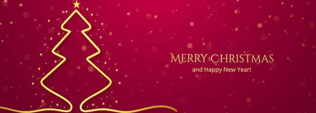 Merry christmas and happy new year greeting card with modern tree