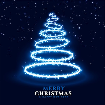 Merry christmas and happy new year greeting card with neon christmas tree in ring style