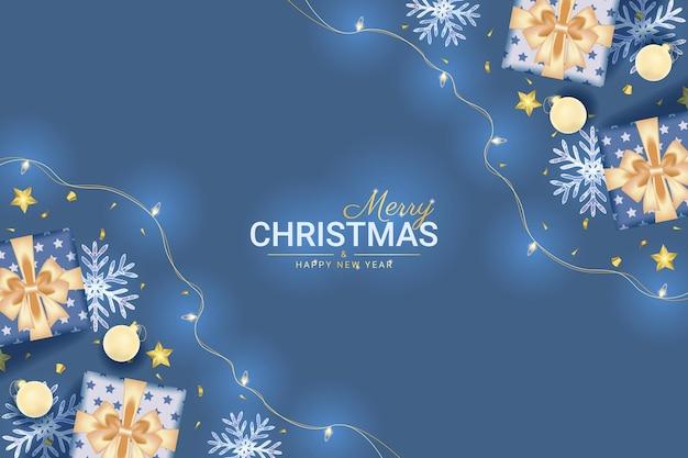 Merry christmas and happy new year greeting card with realistic blue decoration