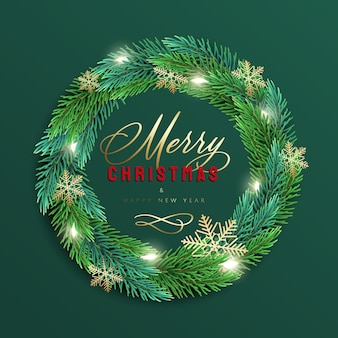 Merry christmas and happy new year greeting card with a realistic colorful wreath of pine tree branches