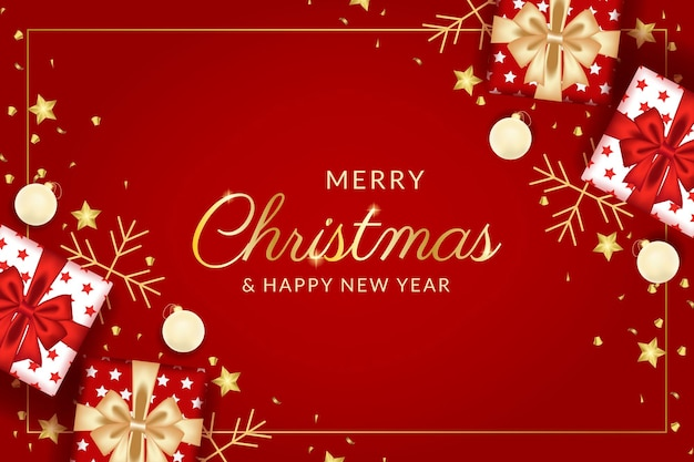 Merry christmas and happy new year greeting card with realistic red decoration