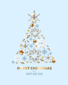 Merry christmas and happy new year greeting card with snowflakes and star. vector.