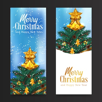 Merry christmas and happy new year greeting card with tree with fir, pine, spruce leaves garland decoration, golden holly bell