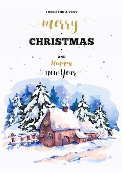 Merry christmas and happy new year greeting card with winter illustration