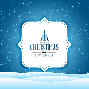 Merry christmas and happy new year greeting card with winter scene with falling snow