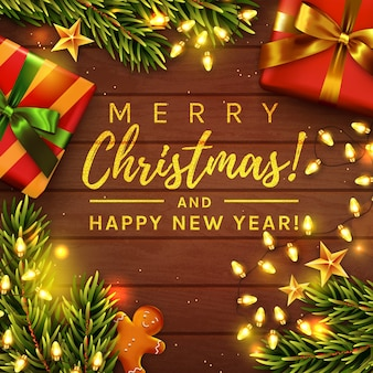 Merry christmas and happy new year! greeting card.