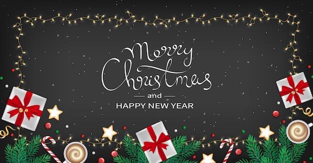 С рождеством христовым с новым годом поздравительный флаер зимние элементы в кадре гирлянды черный фон