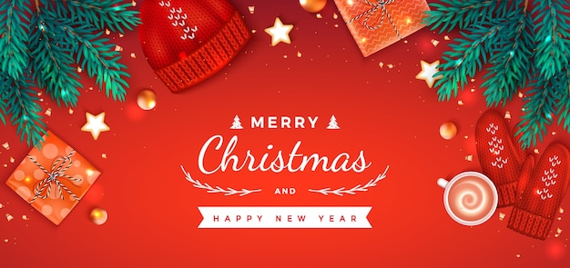 Merry christmas happy new year greeting gift boxes, hat, mittens, cup of coffee