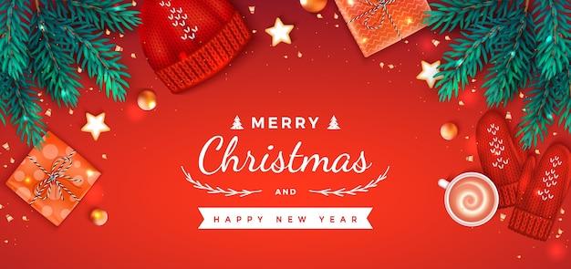 メリークリスマス明けましておめでとうございますグリーティングギフトボックス、帽子、ミトン、一杯のコーヒー