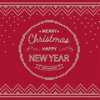 Merry christmas happy new year greeting knitted background xmas winter holiday sweater design.