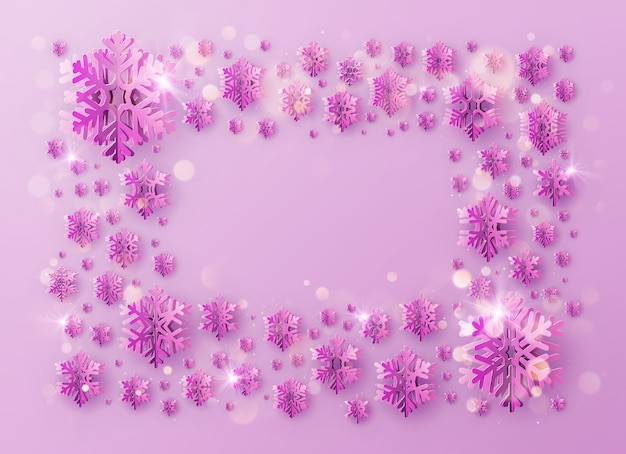 Merry christmas and happy new year greeting template frame with foil snowflakes for holiday posters, placards, banners, flyers and brochures.