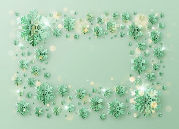Merry christmas and happy new year greeting template frame with foil snowflakes
