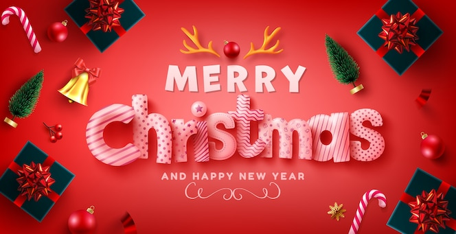 Merry christmas and happy new year greeting with gift boxes