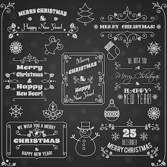 Merry christmas and happy new year greetings on chalkboard set