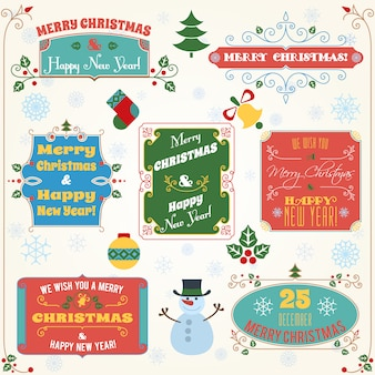 Merry christmas and happy new year greetings colored set