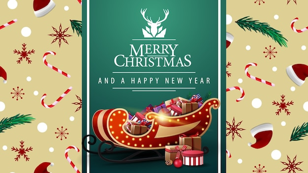 Merry christmas and happy new year greetings with santa sleigh and presents