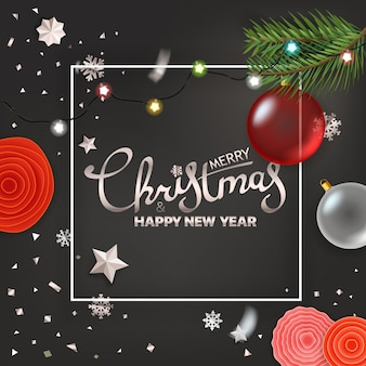 Merry christmas and happy new year greetings.