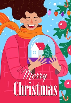 Merry christmas and happy new year hand drawn poster with inscription laughing woman holding snow