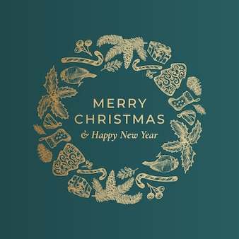 Merry christmas and happy new year hand drawn sketch wreath, banner or card template.