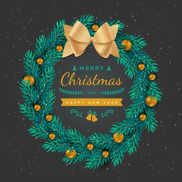 メリークリスマス新年あけましておめでとうございます休日の背景金のボールの装飾と弓と花輪