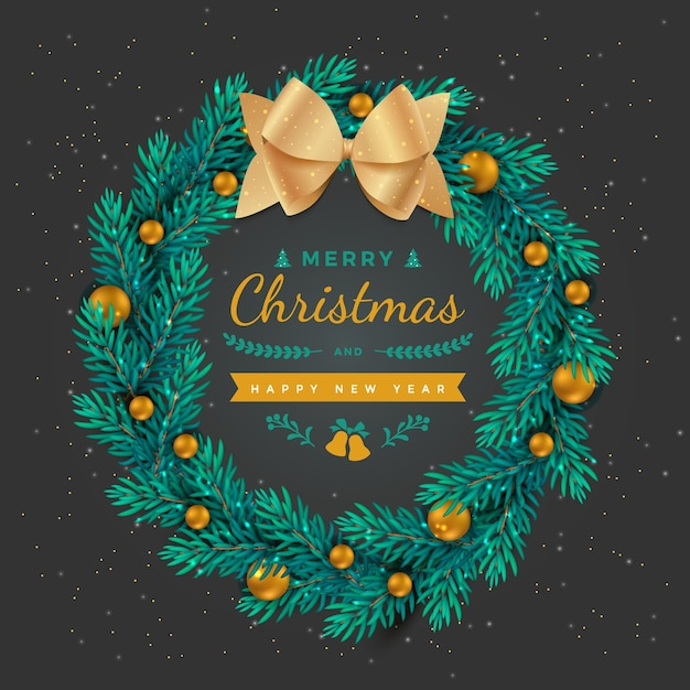Merry christmas happy new year holiday background wreath with gold balls decorations and bow