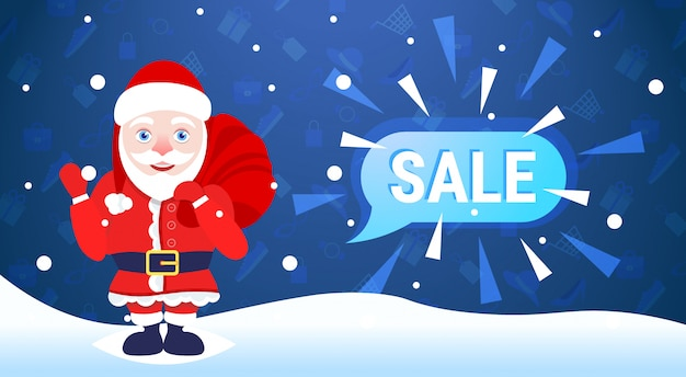 Merry christmas happy new year holiday big sale  santa claus hold sack chat bubble special offer promotion flat