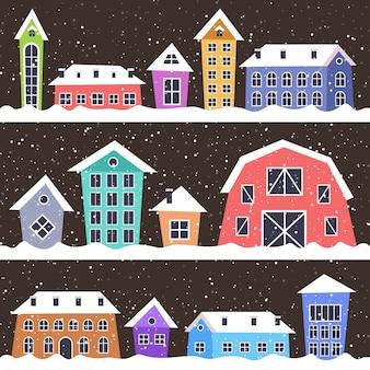 메리 크리스마스 해피 뉴가 어 휴일 축 하 개념 겨울 눈 덮인 마을 인사말 카드 벡터 일러스트 레이 션에 귀여운 다채로운 주택