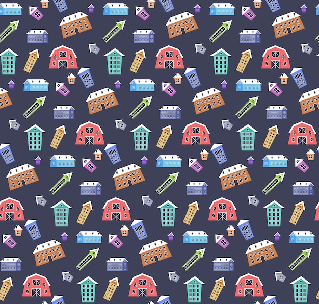 Merry christmas happy new year holiday celebration concept cute colorful houses in winter season seamless pattern