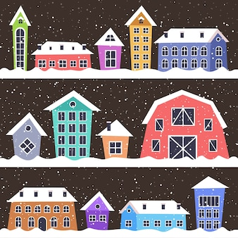 Merry christmas happy new year holiday celebration concept cute colorful houses in winter season snowy town greeting card vector illustration