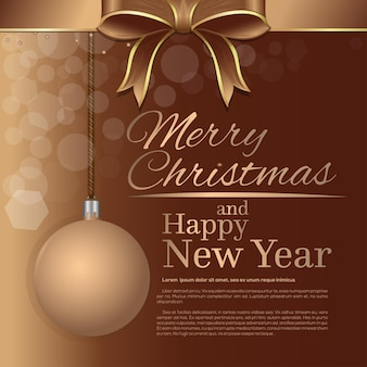 Merry christmas and happy new year. holiday greeting card template with gold lettering, christmas ball and beige ribbon and bow.